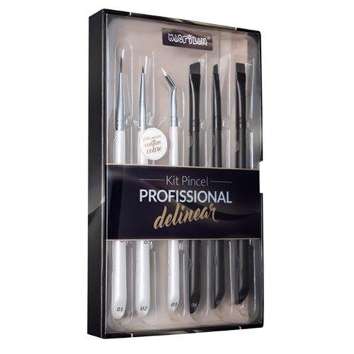 Kit WB700 com 6 pincéis profissionais para delinear Macrilan - Linha W