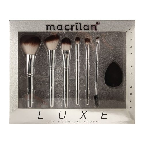 Kit ED002 Luxe com 6 pincéis profissionais e 1 esponja para maquiagem Macrilan