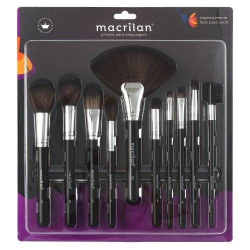 Kit KP9-1B com 10 pincéis para maquiagem Macrilan