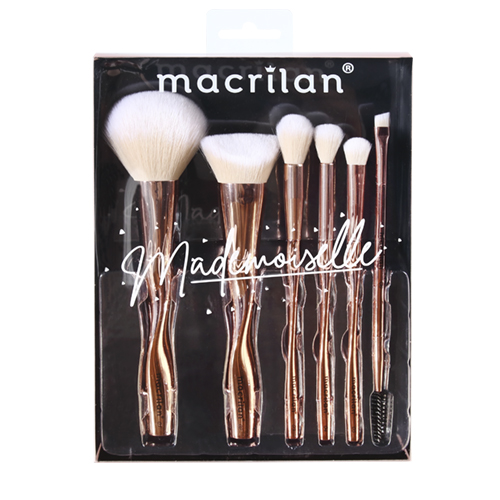 Kit ED004 com 6 pincéis para maquiagem Mademoiselle