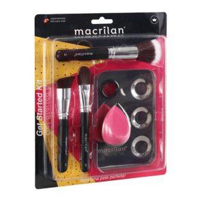 Kit KP10-1 com 3 pincéis para maquiagem, 1 esponja e 1 placa Macrilan