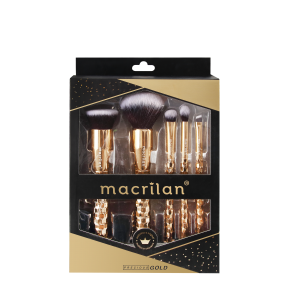 Kit ED006 com 5 pincéis profissionais para maquiagem Precious Gold kit Macrilan