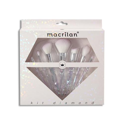 Kit ED003 Diamond com 7 pincéis profissionais para maquiagem Macrilan
