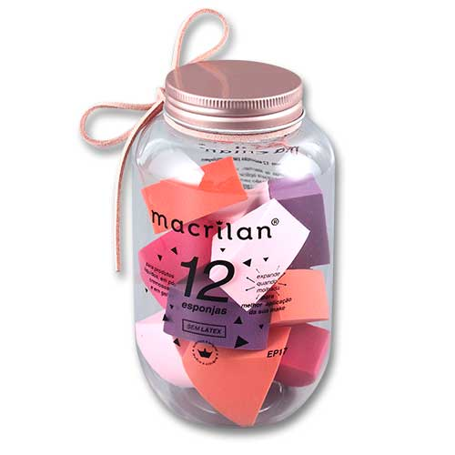 Kit EP17 com 12 esponjas para maquiagem - Macrilan